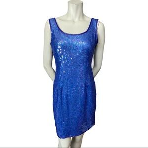 Papell Boutique Blue Silk Sequined Beaded Dress 6